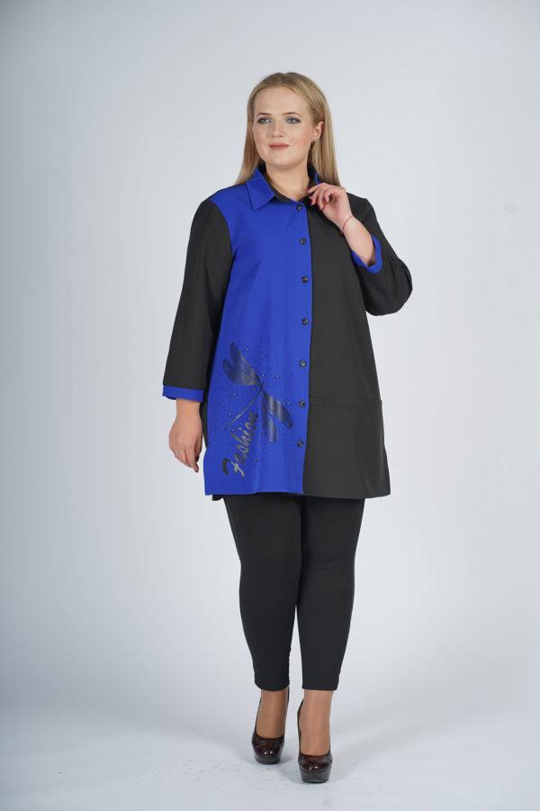 Рубашка Стрекоза (черно-синий)