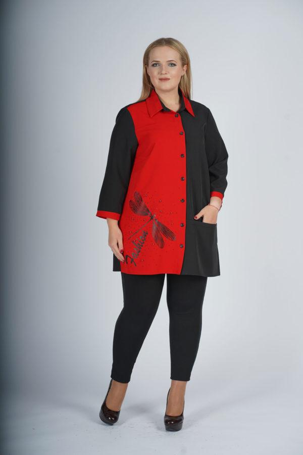 Рубашка Стрекоза (черно-красный)