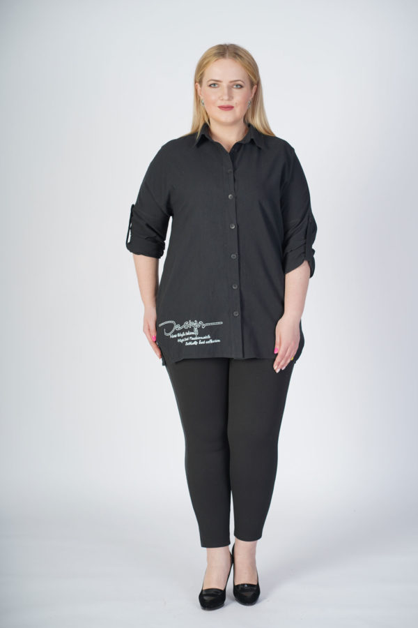 Рубашка Александра (черный лен)