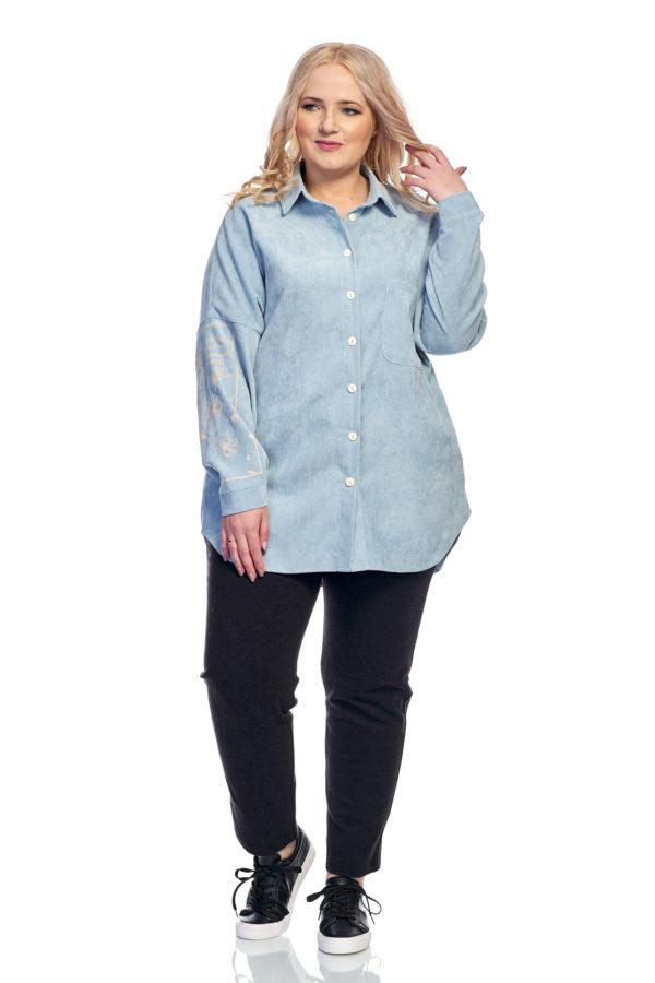 Рубашка Вельвет (светло голубой)