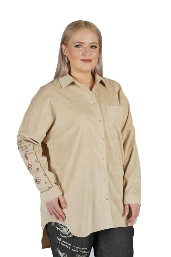 Рубашка Вельвет (молочный)