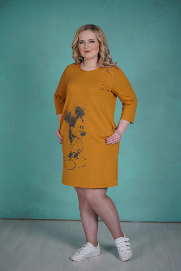 Платье Микки Маус (Горчичный)