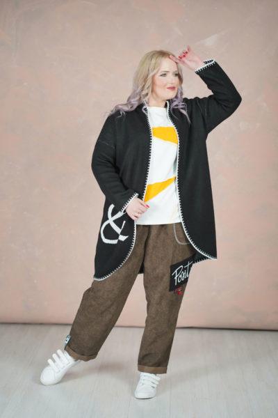Кардиган FASHIONABLE, штаны Positive, футболка треугольники