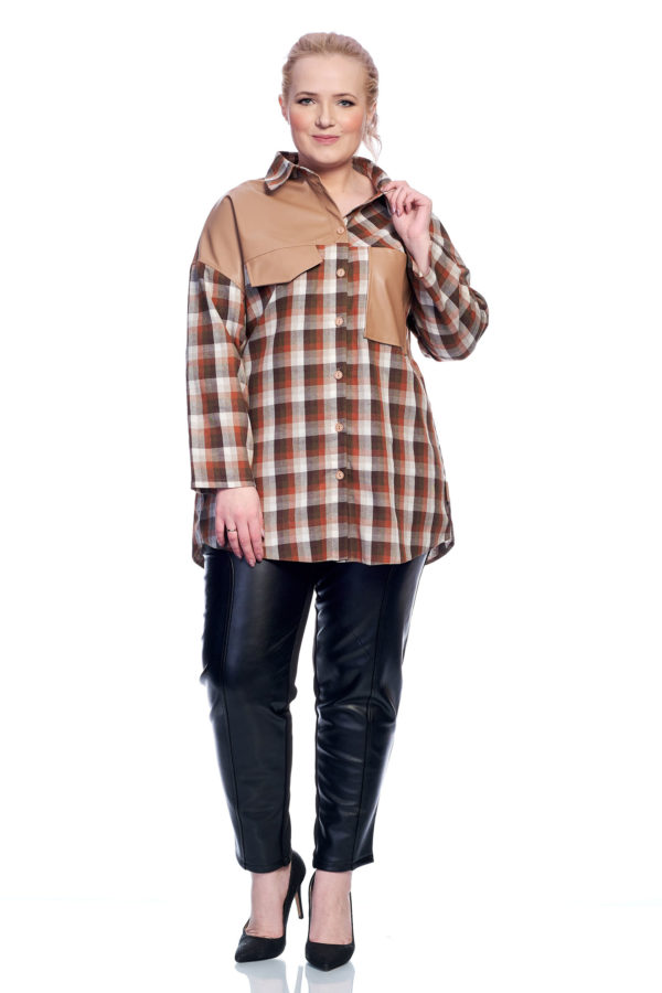 Рубашка Клеточка (коричневый)